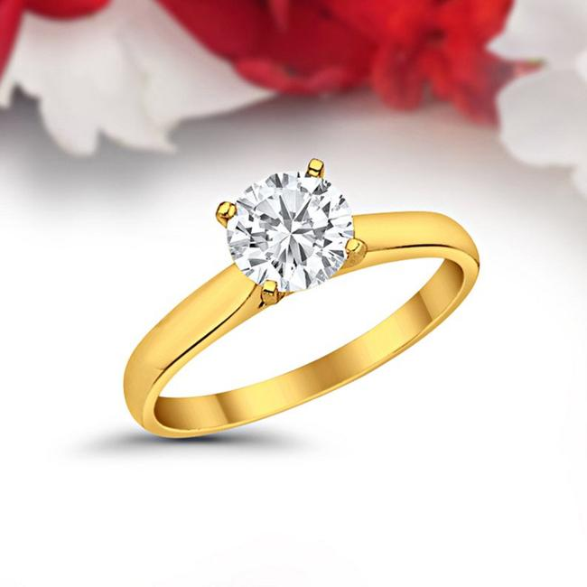 Item - Yellow Gold 14k Solid with 1ct Round Cut Solitaire Engagement Ring