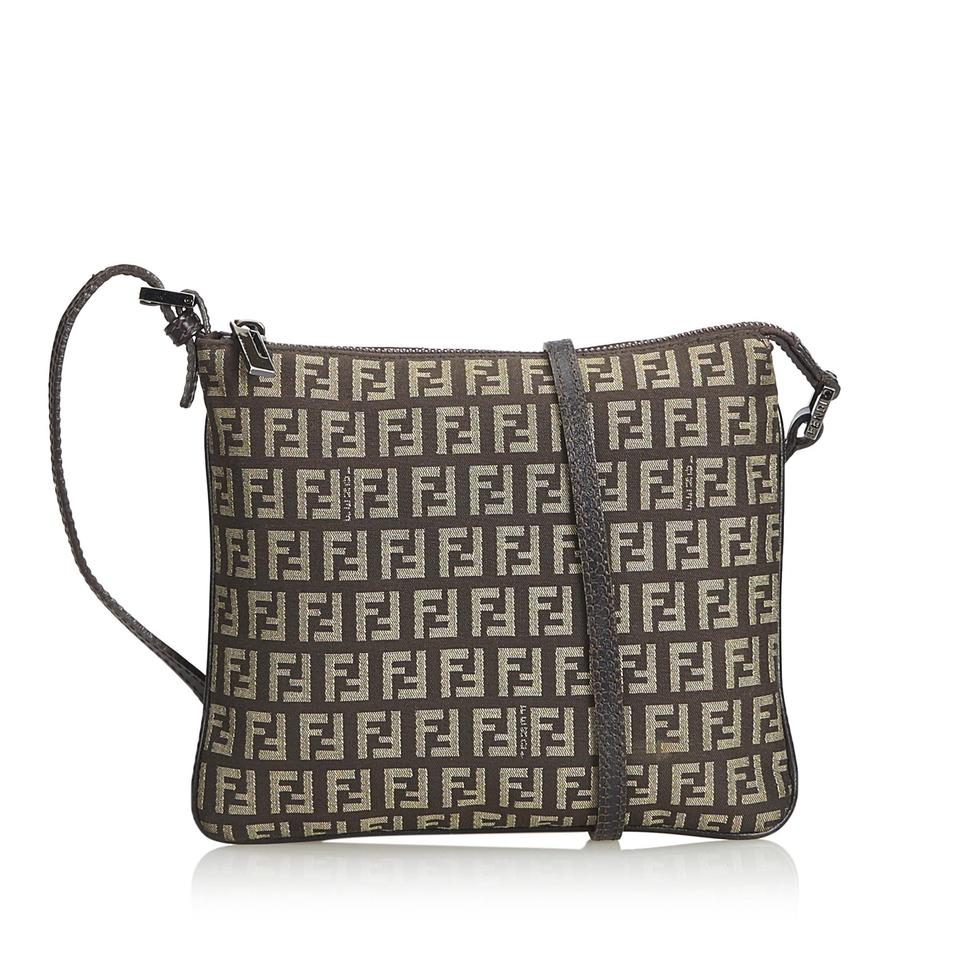 b34a596c88 Fendi Fabric Zucchino Italy Small Brown Canvas Leather Cross Body Bag