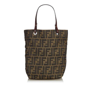 6c1d87757f14 Fendi 9dfnto014 Vintage Nylon Leather Tote in Brown