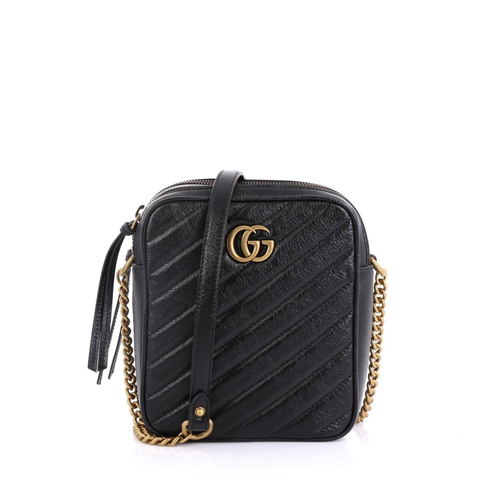 299368e1c26 Gucci Marmont Gg Double Zip Camera Matelasse Mini Black Leather ...