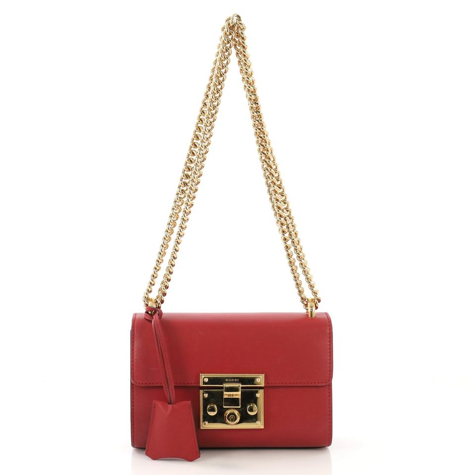 c45d6a5cb2e Gucci Padlock Small Red Lambskin Leather Shoulder Bag - Tradesy