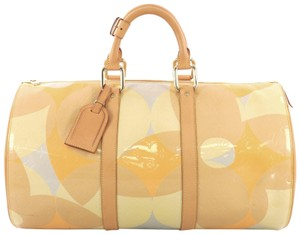 Louis Vuitton Leather beige, orange, blue and green Travel Bag