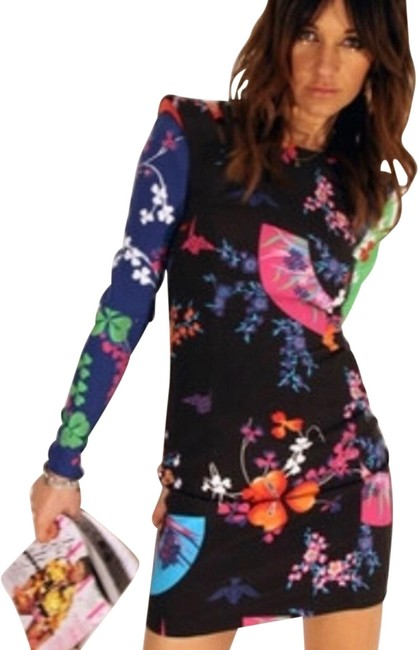 Item - Black and Color Print Short Casual Dress Size 8 (M)