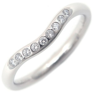 Tiffany & Co. Platinum And Diamond Curved Elsa Peretti Ring Women's Wedding Band