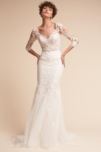 BHLDN Ivory Lace Pronovias Pique Feminine Wedding Dress Size 6 (S)