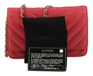 ef3068a93b7c14 Chanel Wallet on Chain Chevron Caviar Pink Leather Shoulder Bag ...