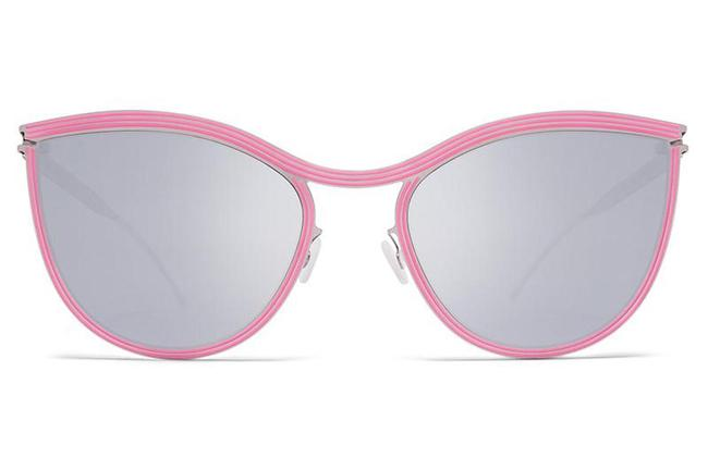 Item - Pink Studio 6.2 Lightweight Metal Cat Eye with Silver Mirrored Lenses Sunglasses