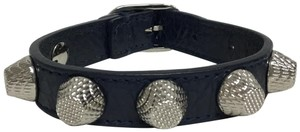 Balenciaga Navy leather bracelet with silver studs