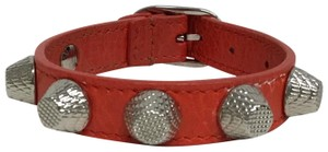 Balenciaga Red leather bracelet with silver studs