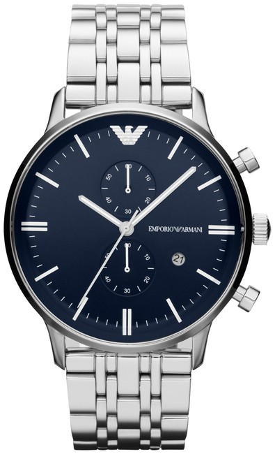 Item - Silver and Navy Blue Box New In Mens Ar1648 Dial Chrono Watch