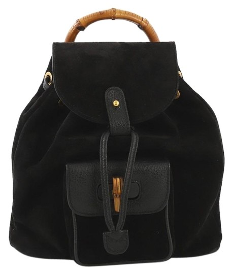 00298c7c4e3 Gucci Vintage Bamboo Mini Black Suede Leather Backpack - Tradesy