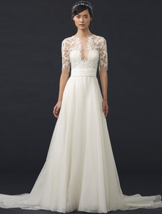 Reem Acra Ivory (Cream) Tulle / Silk Organza She's Mine 5311 Formal Wedding Dress Size 10 (M)