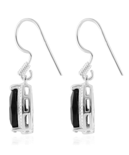 Other BLACK SPINEL PEAR DANGLE DROP EARRINGS Image 2