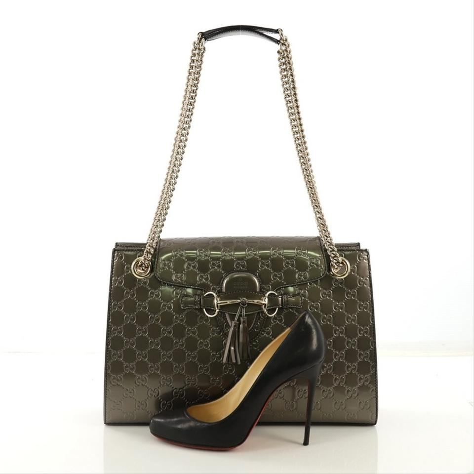 9105eee61303 Gucci Emily Chain Flap Guccissima Large Taupe Patent Leather ...