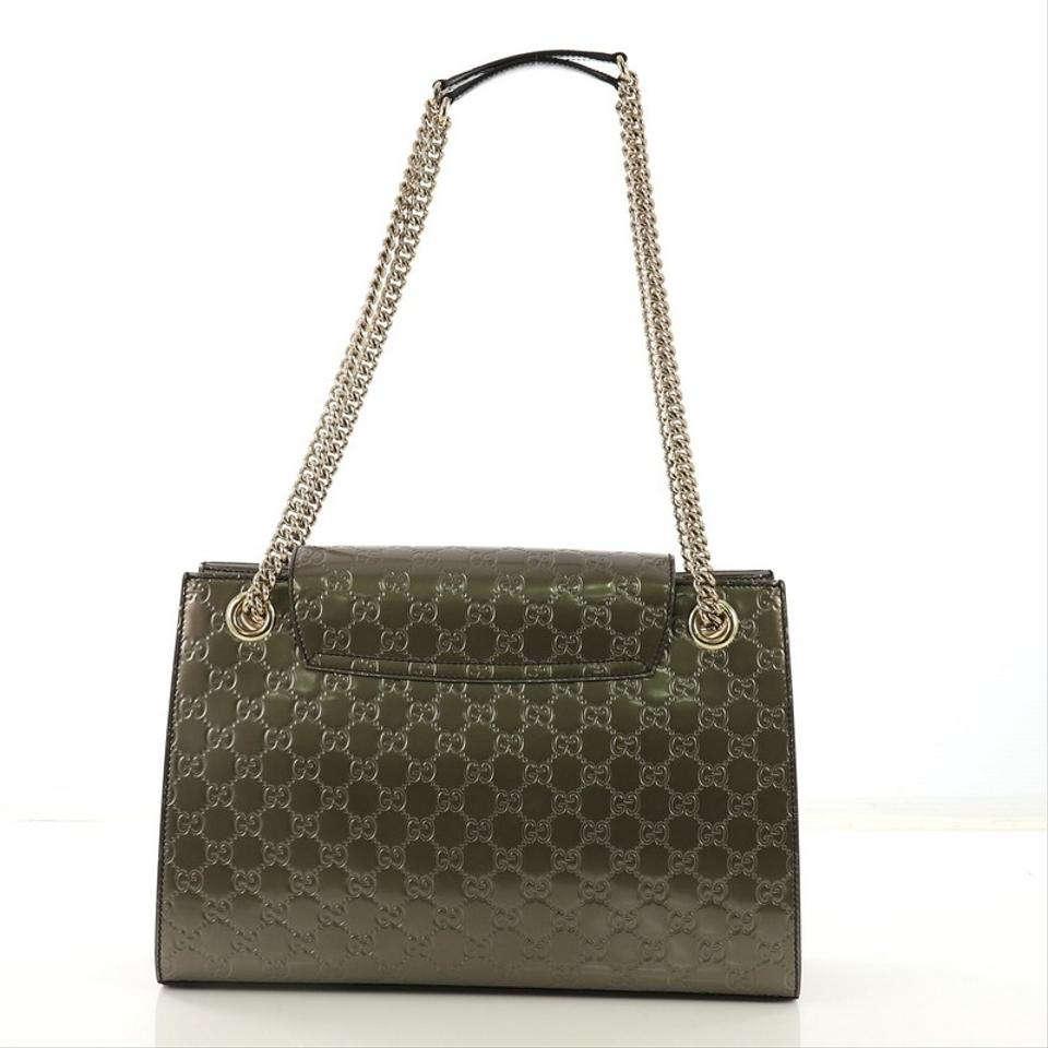 accae8913052c5 Gucci Emily Chain Flap Guccissima Large Taupe Patent Leather Shoulder Bag