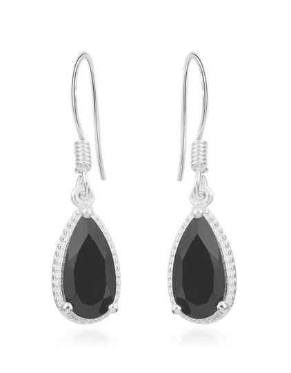 Other BLACK SPINEL PEAR DANGLE DROP EARRINGS Image 3