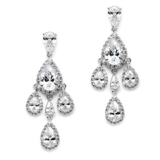 Silver Stunning Crystals Chandeliers Event Earrings Image 1