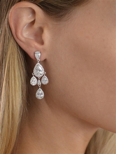 Silver Stunning Crystals Chandeliers Event Earrings Image 2