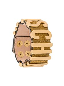 Moschino Gold-tone Moschino glittery design letter logo leather bracelet