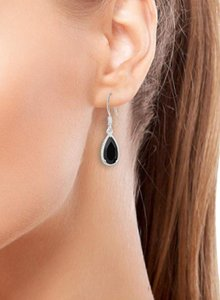 Other BLACK SPINEL PEAR DANGLE DROP EARRINGS