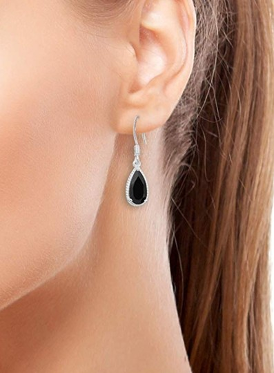 Other BLACK SPINEL PEAR DANGLE DROP EARRINGS Image 7