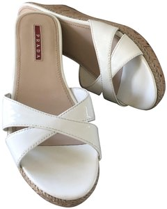 2ca8d71acd9b Prada Slide Patent Leather Summer Wedge white Sandals
