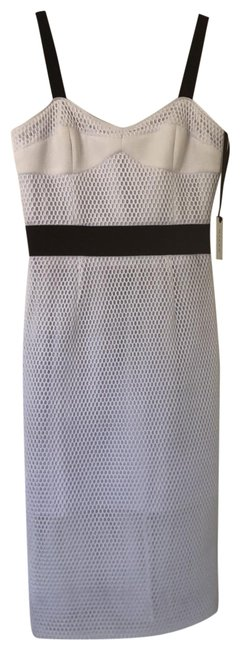 Item - White and Black Bustier Strap Mid-length Cocktail Dress Size 6 (S)