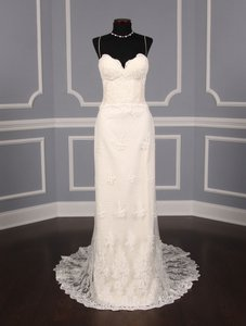 Romona Keveza Ivory Point D'alencon Lace L6100 Formal Wedding Dress Size 10 (M)