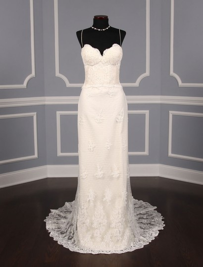 Romona Keveza Ivory Point D'alencon Lace L6100 Formal Wedding Dress Size 10 (M) Image 0