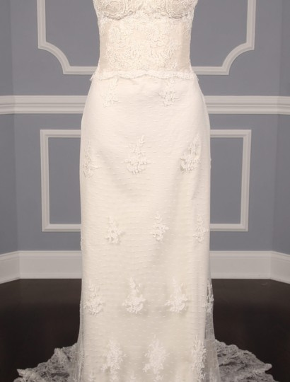 Romona Keveza Ivory Point D'alencon Lace L6100 Formal Wedding Dress Size 10 (M) Image 2