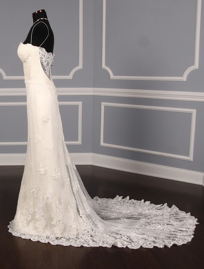 Romona Keveza Ivory Point D'alencon Lace L6100 Formal Wedding Dress Size 10 (M) Image 4