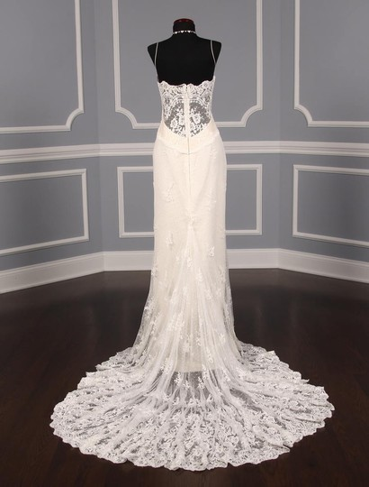 Romona Keveza Ivory Point D'alencon Lace L6100 Formal Wedding Dress Size 10 (M) Image 5