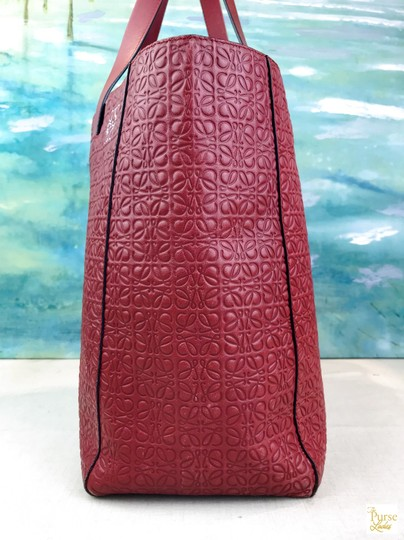 Loewe Leather Embossed Tote in Red Image 1