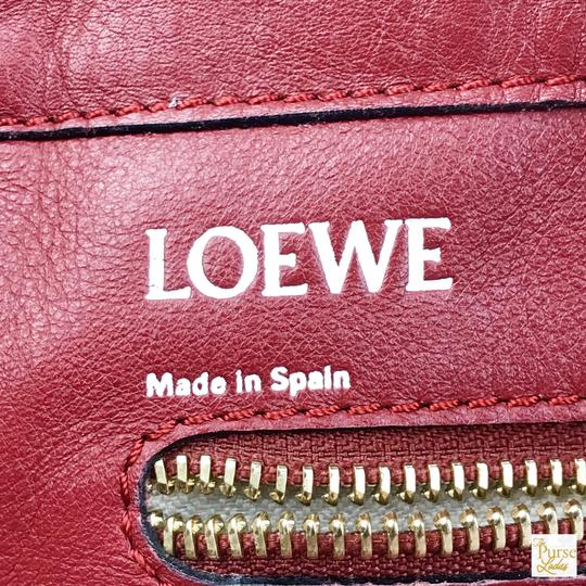 Loewe Leather Embossed Tote in Red Image 10