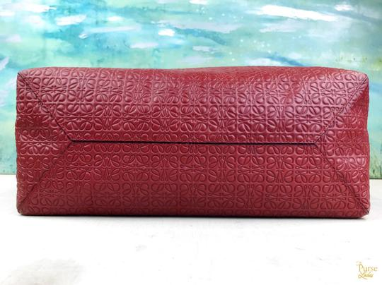 Loewe Leather Embossed Tote in Red Image 4