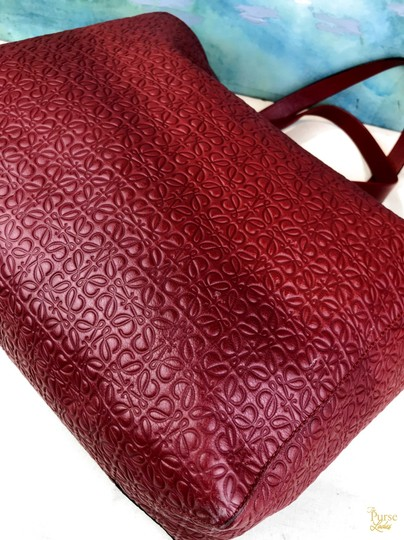 Loewe Leather Embossed Tote in Red Image 6