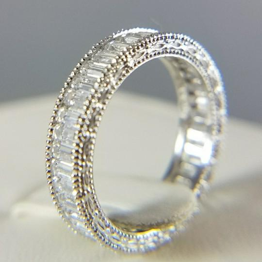 White Gold 4mm Solid 14k Channel Invisible Set Sizes 5 6 7 8 9 Engagement Ring Image 1