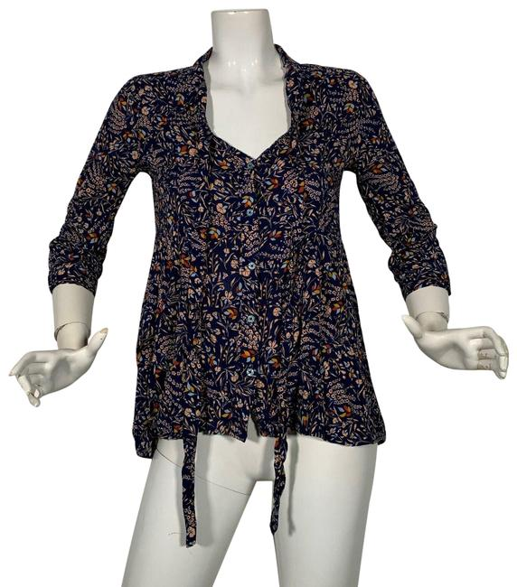 Preload https://img-static.tradesy.com/item/25300787/anthropologie-multicolor-tunic-floral-34-sleeve-neck-tie-s-blouse-size-4-s-0-1-650-650.jpg