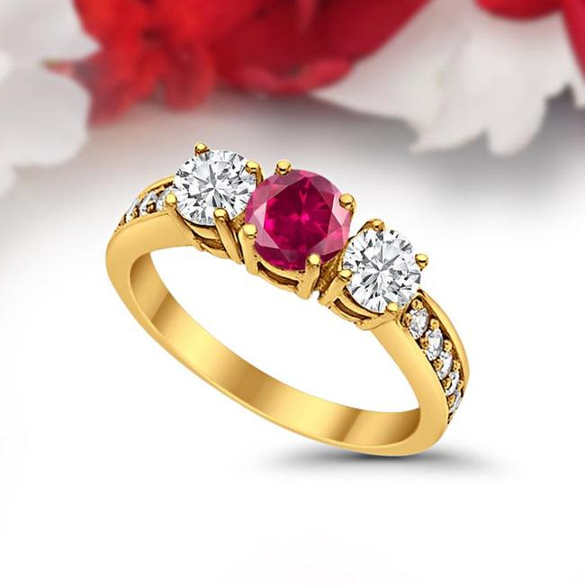 Item - 14k Yellow Gold Three Stone Round Synthetic Red Ruby Engagement Ring
