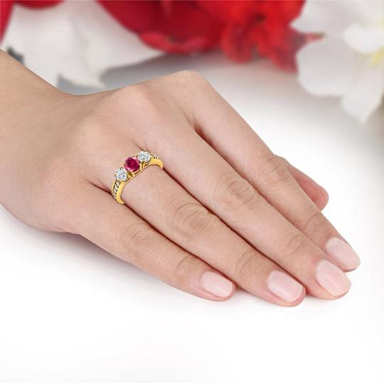 14k Yellow Gold Three Stone Round Synthetic Red Ruby Engagement Ring Image 1