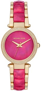 Michael Kors NWT Parker Gold-Tone and Sangria Acetate Three-Hand Watch MK6490