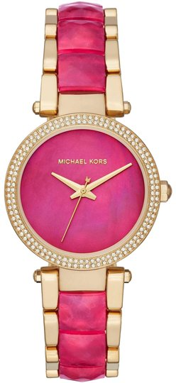 Preload https://img-static.tradesy.com/item/25300865/michael-kors-pink-gold-parker-gold-tone-and-sangria-acetate-three-hand-mk6490-watch-0-1-540-540.jpg