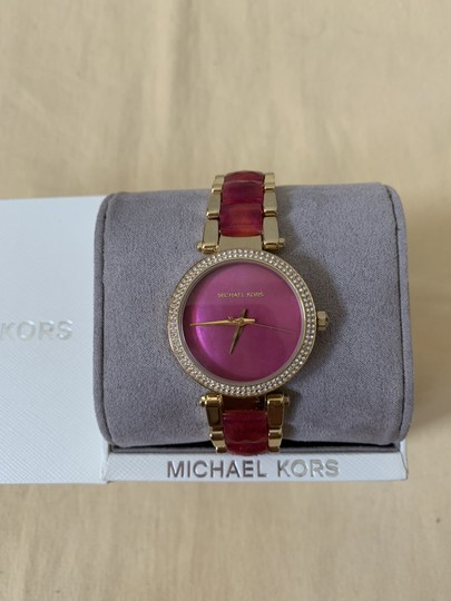 Michael Kors NWT Parker Gold-Tone and Sangria Acetate Three-Hand Watch MK6490 Image 1