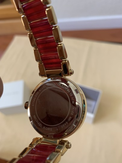 Michael Kors NWT Parker Gold-Tone and Sangria Acetate Three-Hand Watch MK6490 Image 10