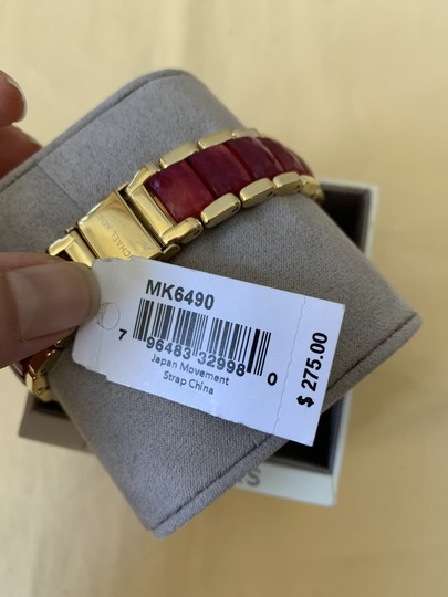 Michael Kors NWT Parker Gold-Tone and Sangria Acetate Three-Hand Watch MK6490 Image 11