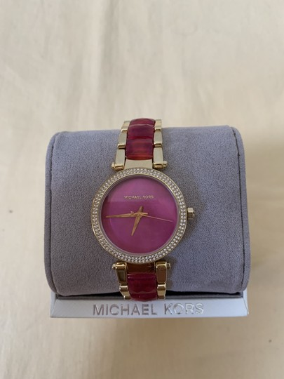 Michael Kors NWT Parker Gold-Tone and Sangria Acetate Three-Hand Watch MK6490 Image 2