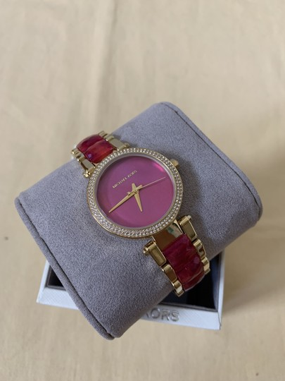 Michael Kors NWT Parker Gold-Tone and Sangria Acetate Three-Hand Watch MK6490 Image 3