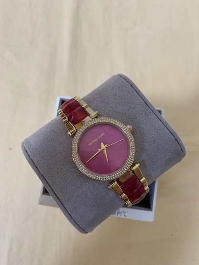 Michael Kors NWT Parker Gold-Tone and Sangria Acetate Three-Hand Watch MK6490 Image 4