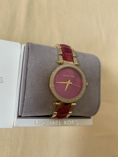 Michael Kors NWT Parker Gold-Tone and Sangria Acetate Three-Hand Watch MK6490 Image 7