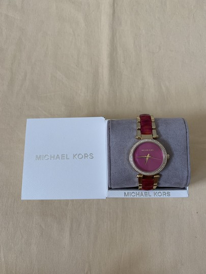 Michael Kors NWT Parker Gold-Tone and Sangria Acetate Three-Hand Watch MK6490 Image 8